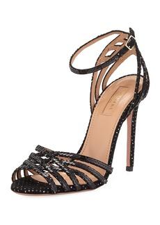 Aquazzura Studio Sequin Sandals with Ankle Strap Velvet