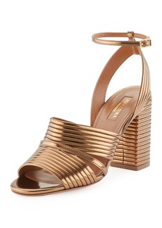 Aquazzura Sundance Metallic Leather Block-Heel Sandal