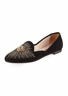 Aquazzura Sunlight Embroidered Suede Slipper