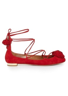 Aquazzura Sunshine suede fringed flats