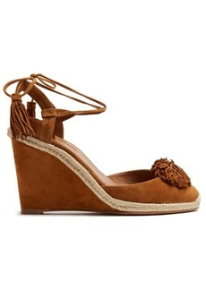 Aquazzura Sunshine suede fringed wedge sandals