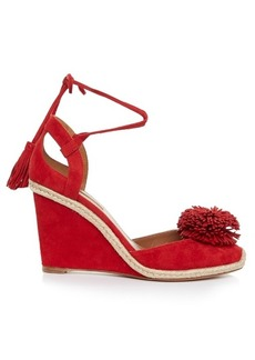 Aquazzura Sunshine suede fringed wedge sandals
