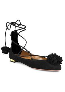 Aquazzura Sunshine Suede Lace-Up Ballet Flats