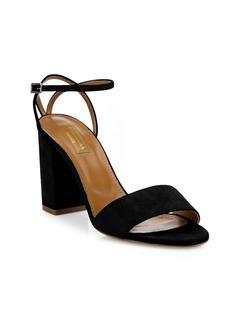 Aquazzura Tahiti Suede Ankle-Strap Block Heel Sandals