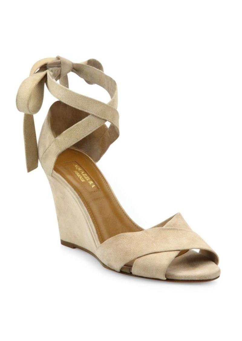 4d3a776c68e SALE! Aquazzura Aquazzura Tarzan Crisscross Suede Wedge Sandals