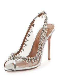 Aquazzura Temptation Crystal Slingback Sandals