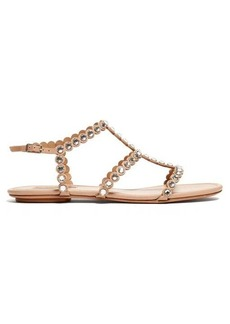 Aquazzura Tequila crystal-embellished T-bar leather sandals