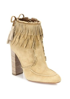 Aquazzura Tiger Lily Fringed Suede Booties