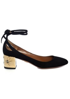 Aquazzura Trinity star-embellished suede pumps