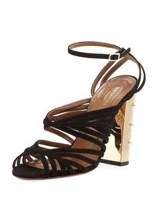 Aquazzura Trinity Strappy Suede Stud-Heel Sandal