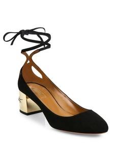 Aquazzura Trinity Suede Ankle-Wrap Block Heel Pumps