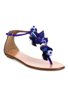 Aquazzura Tropicana Embellished Suede T-Strap Sandals