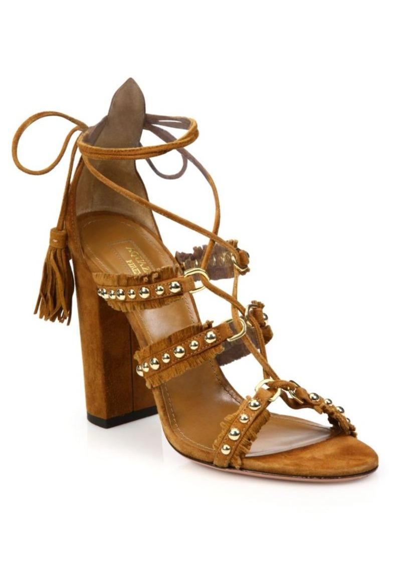 Aquazzura Tulum Studded Fringed Suede Sandals