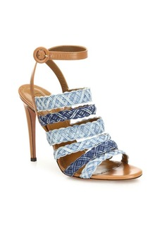 Aquazzura Tyra Strappy Denim & Leather Ankle-Strap Sandals