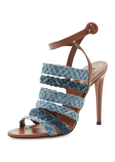 Aquazzura Tyra Strappy Woven Denim Sandal