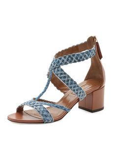 Aquazzura Tyra Woven Denim Block-Heel Sandal