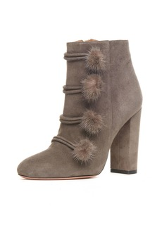 Aquazzura Ulyana Mink-Trim 105mm Booties