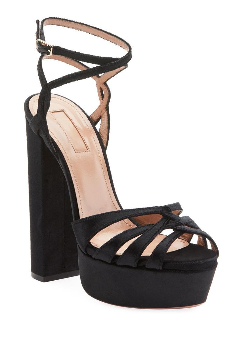 Aquazzura Veranda Platform Velvet Sandals
