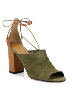 Aquazzura Very Eugenie Suede Tie-Up Sandals
