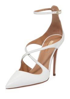 Aquazzura Viviana Leather Ankle-Strap Pumps