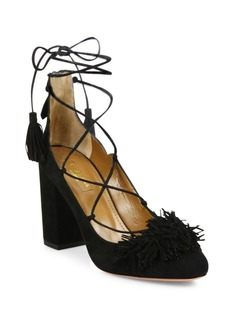 Aquazzura Wild Fringed Suede Lace-Up Block-Heel Pumps