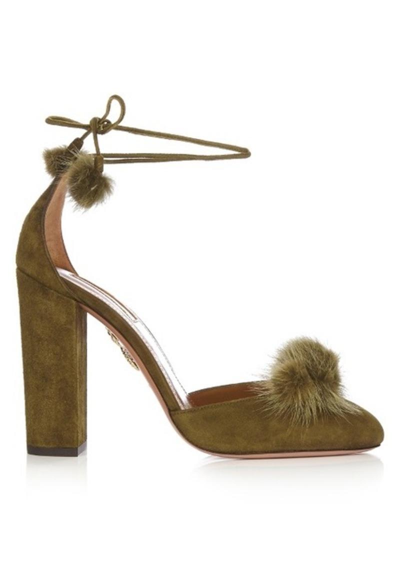 Aquazzura Wild Russian fur and suede pumps