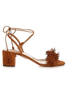 Aquazzura Wild Thing fringed block-heel suede sandals