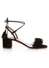 Aquazzura Wild Thing fringed block-heel suede sandals