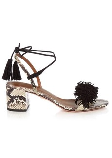 Aquazzura Wild Thing fringed snakeskin sandals
