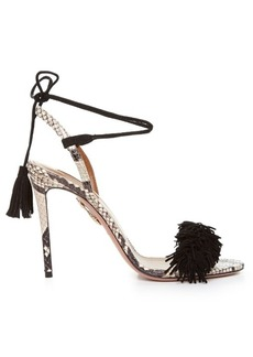 Aquazzura Wild Thing snakeskin fringed sandals