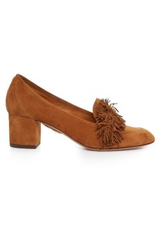 Aquazzura Wild Thing suede block-heel loafers