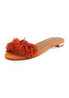 Aquazzura Wild Thing Suede Flat Slide Sandal