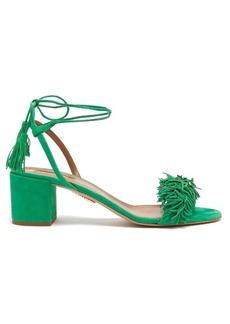 Aquazzura Wild Thing suede fringed block-heel sandals