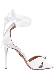 Aquazzura Woman All Tied Up Grosgrain Sandals White