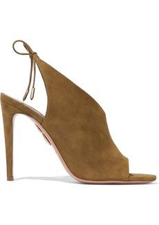 Aquazzura Woman Ami Suede Sandals Sage Green