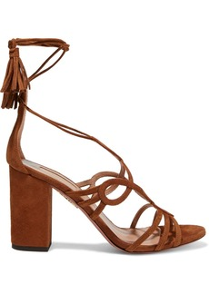 Aquazzura Woman Gitana 85 Lace-up Suede Sandals Light Brown