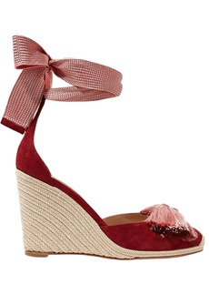 Aquazzura Woman Lotus Blossom Fringed Bow-embellished Suede Wedge Espadrilles Burgundy