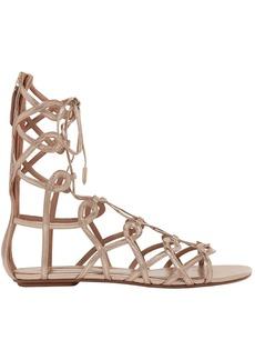 Aquazzura Woman Mumbai Lace-up Metallic Leather Sandals Rose Gold