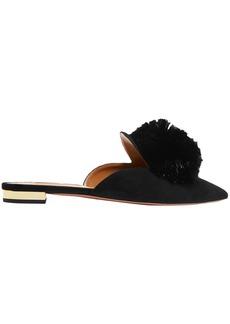 Aquazzura Woman Powder Puff Pompom-embellished Suede Slippers Black