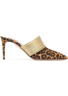 Aquazzura Woman Rendez Vous 75 Leopard-print Suede And Metallic Faux Leather Mules Animal Print