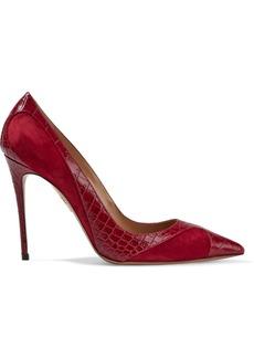 Aquazzura Woman Satine 105 Croc-effect Leather And Suede Pumps Crimson
