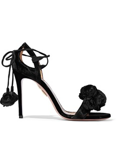 Aquazzura Woman Wild Flower Appliquéd Velvet Sandals Black
