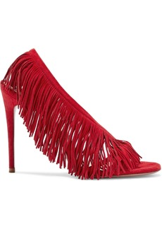 Aquazzura Woman Wild Fringe 105 Suede Sandals Red