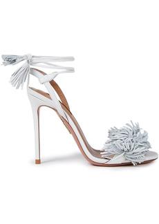 Aquazzura Woman Wild Thing 105 Fringed Leather Sandals White