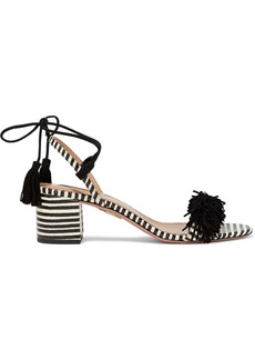 Aquazzura Woman Wild Thing 50 Fringed Suede And Striped Elaphe Sandals Black
