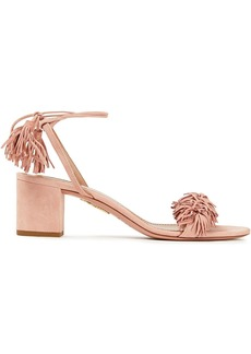 Aquazzura Woman Fringe-trimmed Suede Sandals Blush