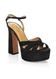 77009717935 Aquazzura Baba Suede Platform Sandals