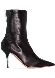 Aquazzura black saint honore 85 leather boots