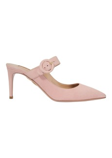 Aquazzura Blossom Buckle Strap Mule Pumps