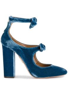 Aquazzura Blue Velvet Sandy bow 115 Heels